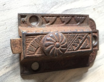 Old Beautiful Cast Iron None - Working Empty Ornate Latch - Eastlake - Steampunk Mixed Media Jewelry Pendant - Stormy Original Patina