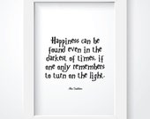 Harry Potter Print. Happiness Quote. Instant Download. Typography. Black and White. Digital Print. Dumbledore. Printable Poster. 8 x10.