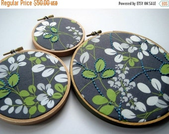 Christmas in July Sale Hand Embroidered Leaves. leaf motif embroidery. three hoops:  3, 4 and 6 inches. garden. nature lover's gift. hoop ar