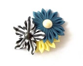 Unique Striped Kanzashi Hair Flower Blue and Yellow Barrette