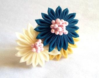 Teal and Cream Flower Statement Ring Kanzashi Fiber Art