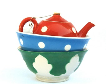 Vintage Uzbek Porcelain China, Polka Dot Teapot, Serving Bowls, Primary Colors, Uzbekistan Red Orange, Blue, Green, Greenery
