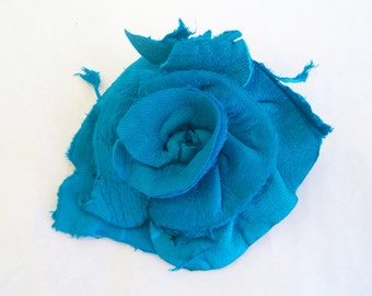 turquoise deerskin leather flower rose hat pin, brooch by Tuscada. Ready to ship
