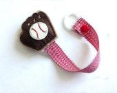 Baby boy Pacifier clip, Baby pacifier holder, Baseball glove pacifier clip, red chevron