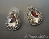 Audrey Stud Earrings in Crystal Rhinestone Pear Shape and Silver Like Audrey Hepburn in Breakfast at movie bridal earrings wedding jewelry