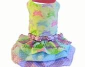 Sample Sale - Dog Dress - Pastel Bunny - Pastel Bunnies - three layer skirt - Small