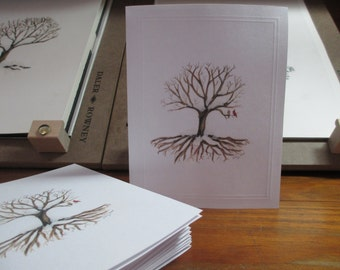 Deeply Rooted Winter Tree Notecard Set of 2