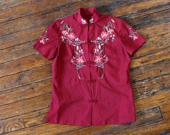 Floral Embroidered Blouse S • Mandarin Collar Shirt •  70s Blouse • Button Up Blouse • Asian Inspired Floral Blouse • Fall Shirt | T622