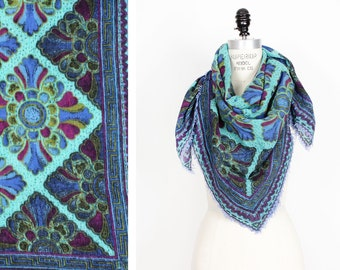 Blue and Violet Wool Scarf L • Wool Scarf with Fringe•  Babushka Scarf | SC159