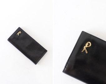 Black Leather Wallet • 70s Italian Leather Wallet • Roberta Di Camerino • Designer Wallet • Simple Wallet • Large Wallet | W286