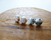 Round Marble Stud Earring...