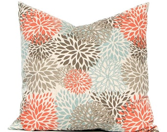 Fall Pillow Covers - Orange Pillow Covers - Throw Pillow Covers - Sofa Pillow Covers - Aqua Orange on Linen - Living Room Decor
