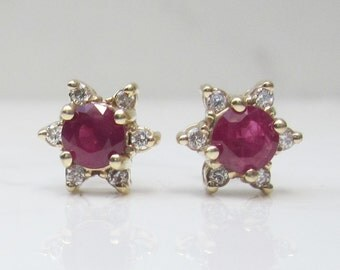 Estate Ruby and Diamond Studded Pierced Star Halo Earrings Studs in 14k Solid Yellow Gold