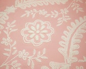 Gorgeous Pink and White Flowers and Leaves Cabin Crafts Vintage Chenille Bedspread Fabric Piece - Large Corner Piece