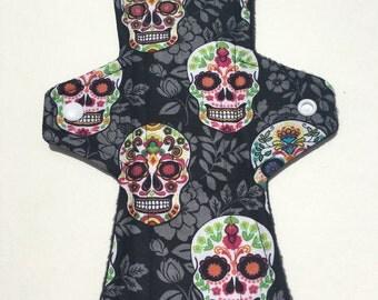 10 Inch Cloth Menstrual Pad Regular Flow Skulls