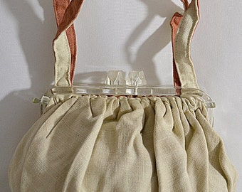 Vintage 1940s Small Reversible Linen Hand Bag Ivory to Terracotta Chunky Clear Lucite Frame and Clasp