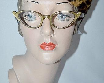 Vintage 1950s Gold Womens KONO Cat Eye Glasses