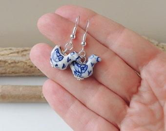 Blue Bird Earrings, Blue & White Ceramic Bird Bead Earrings, Bird Jewellery, Animal, Bohemian Jewellery, UK Seller