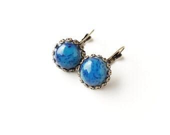 Blue Earrings, Vintage Style Earrings with Resin Cabochons, Lever Back Earrings, Resin Jewellery, Blue Jewellery, UK, 2355