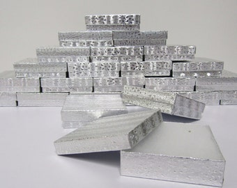 100 Pack Silver Boxes (3.5 x 3.5 x 1 in) // ECONOMY SIZE //