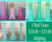 3 Handpainted  Bud Vases in Shades of Mint Green, Robins Egg Blue & Pink with a Distressed Faux Finish