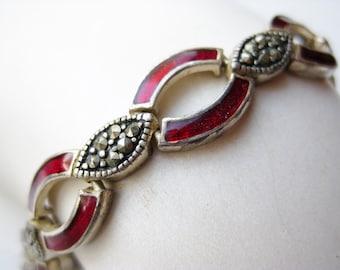 Vintage Sterling Silver Red Enamel Marcasite Art Deco Link Bracelet