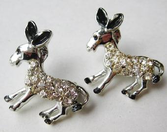 2 Vintage 50s Jeweled Rhinestone Novelty Donkey Scatter Pins