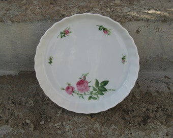 vintage christine holm rose stoneware tart pan shabby cottage french country