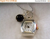 ON SALE Watch Pendant Necklace, Watch Pendant Charm, Black Peal Charm, Birthstone