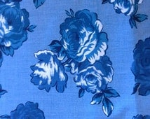 Blue Roses on Blue Cotton Blend Fabric 3 Yards  X0450
