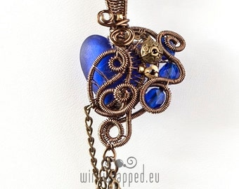 OOAK Small cobalt blue heart with a key steampunk wire wrapped pendant
