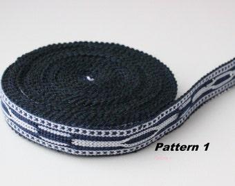 Uzbek dark blue-white woven trim Jiyak. Ethnic Boho, Hippy trim. Two patterns