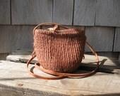 Mini Crossbody Rattan Purse// Boho Festival Mini Bag// Leather Strap