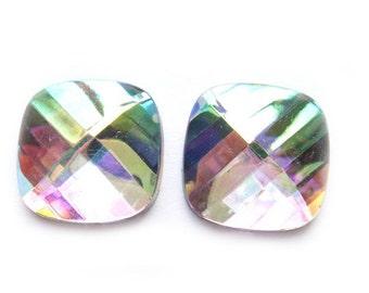 AB Crystal Earrings - Clip On or Pierced - wedding jewelry