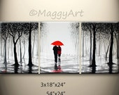 54x24 inch original abstract painting, walking in rain, black white red,love couple,great wedding gift