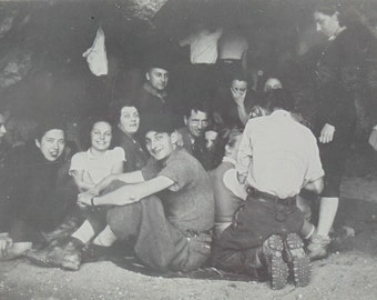 1940's French Photo - People in a Cave