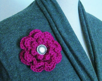 Crochet Flower Pin-Fuschia Flower Pin-Purple Flower Brooch-Crochet Flower Fuschia-Crochet Brooch-Crochet Flower Brooch-Crochet Flower