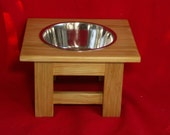 Elevated Large Dog Feeder, Outdoor,Single Bowl, 9 Inchs High, Treated Pine, Three Quart