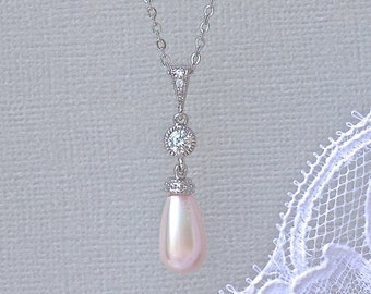 Pink Blush Pearl Necklace, Pearl Bridal Necklace, Crystal & Pearl Pendant, AUDREY