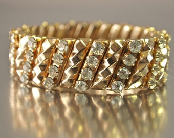 Czech Rhinestone Bracelet Stretch Cuff Clear Crystal and Gold 1950's/60's