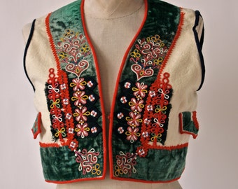 Czech Folk Vest Vintage Wool and Green Velvet Folk Costume with Red Embroidery Horňácké Region