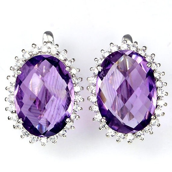31 TCW Natural Purple Amethyst gemstones, Brilliant CZ's, 14kt white gold Pierced Earrings