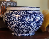 Antique Flow Blue Jardiniere Planter Bowl, 1800s China Art Pottery