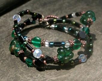 Green & Copper Twisted Bracelet