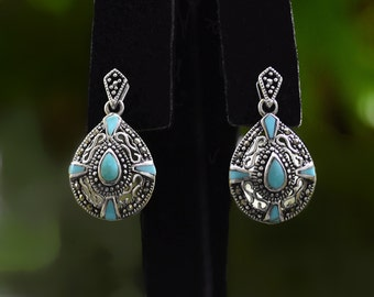 Vintage JC Dangle Silver 925 Turquoise Marcasite Pierced Post EARRINGS