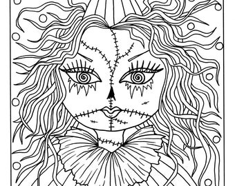 5 pages of goulish girls halloween coloring pages instant downloadscolor bookscoloring - Color Books