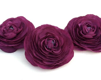 Silk Flowers - Three Artificial Ranunculus Flowers in Purple - SMALLER SIZE - Artificial Flowers