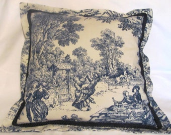 French Country Romantic Cottage Pillow Blue Ivory Toile Provence Floral Garden Americana