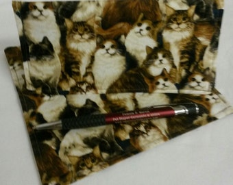 Various Cat Breeds Ladies Checkbook Cover Coupon Holder Clutch Purse Billfold Ready-Made