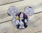 """7"""" Iron On Villains Mickey Mouse Inspired Applique Evil Queen, Malificent, Ursula, Cruella"""